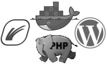 Caddy, Docker, PHP, WordPress logos